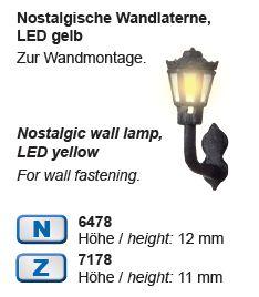 Viessmann 6478 N Nostalgische Wandlaterne LED gelb